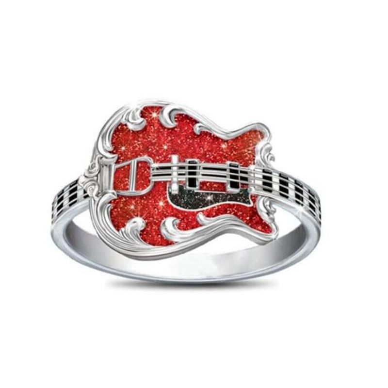 European and American fashion pop music rings Dripping oil Guitar rings birthday party gifts ring size 6-10 G-55