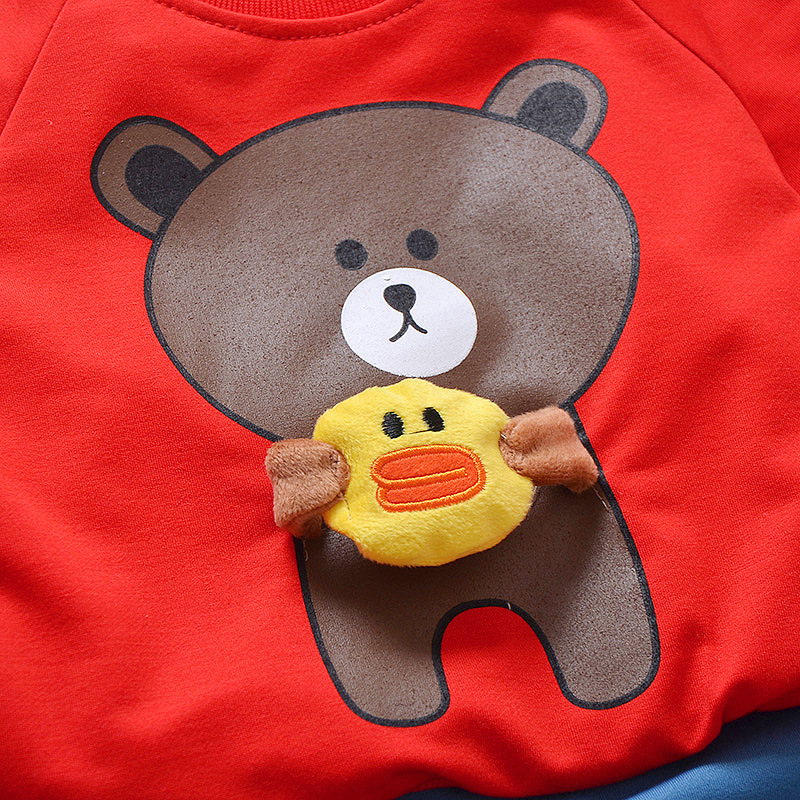 2019 Spring Autumn Children Boys Girls Cartoon Clothing Sets Pring Bear T-shirt Jeans /sets Baby Clothes Infant Tracksuits