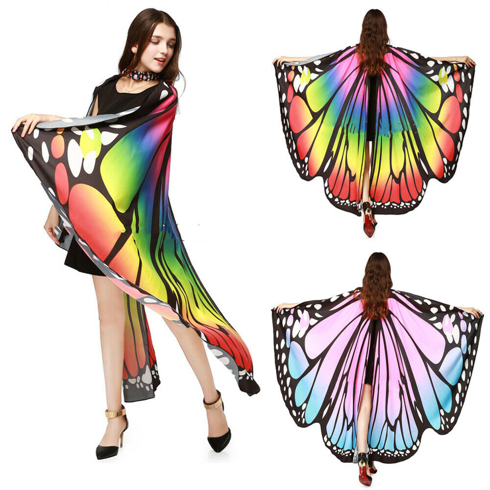 New Multicolor Soft Fabric Butterfly Wings Shawl Fairy Nymph Pixie Party Costume