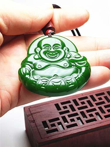 Natural Green Hand-carved Buddha Jade Pendant Necklace Jewelry Gift Gemstone Wholesale