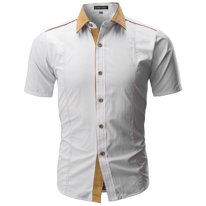 Brand 2019 Summer Hot Sale Fashion Male Shirt Short-sleeves Tops Solid Color Mens Dress Shirts Slim Men Shirt Plus Size 4xl