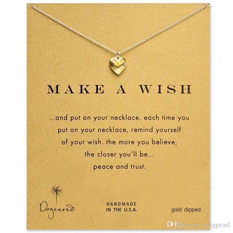 Dogeared Love Heart Choker Necklaces With Wishing Card Gold Silver Pendant Necklace For Fashion Women Jewelry MAKE A WISH