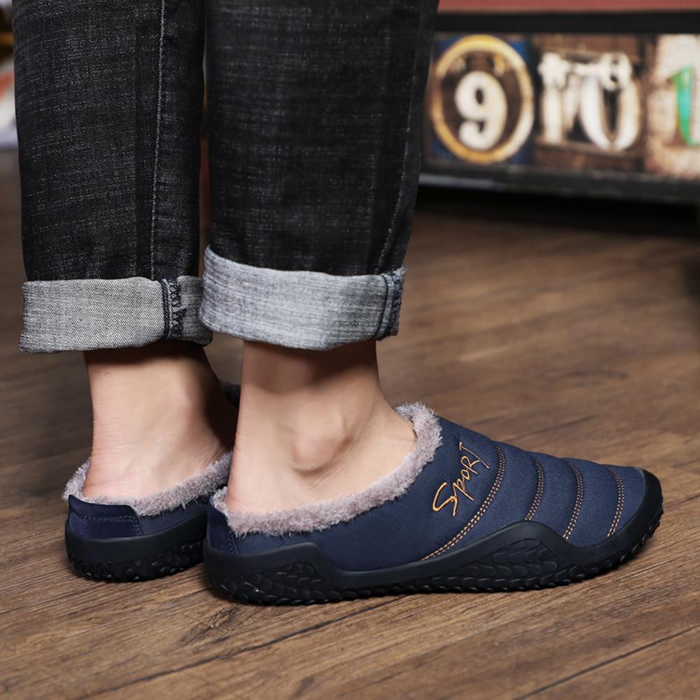 1Winter Men Shoes Plush Men Slippers Fleece Warm Fur Thicken Cotton-padded Home Slipper Indoor Flat Shoes Big Size 39-48