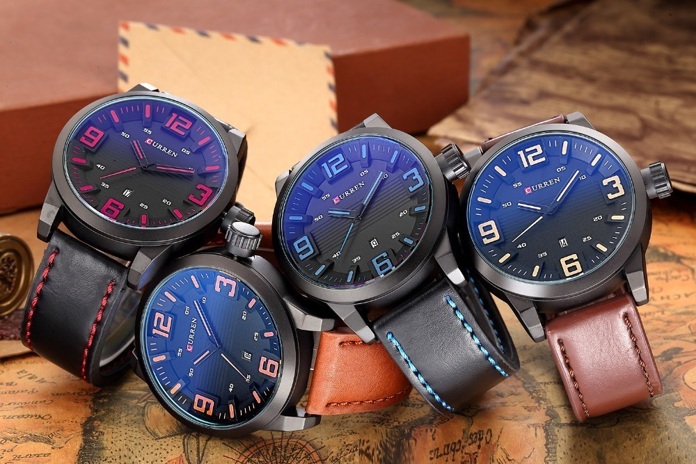 Curren 8241 Curren Round Dial Quartz Analog Wrist Watch High Quality Leather Band For Unisex
