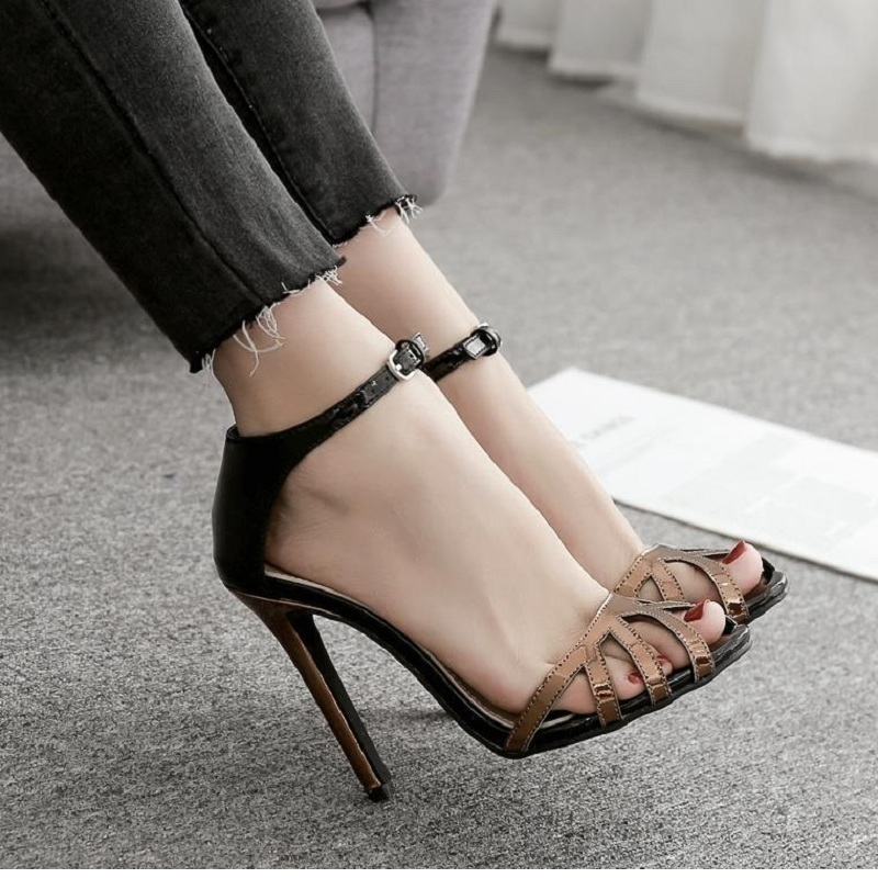 New Shoes Woman Summer Patent Leather High Heels Sandals Ladies Sexy Peep Toe Stiletto Party Wedding Shoes Sandalias Mujer