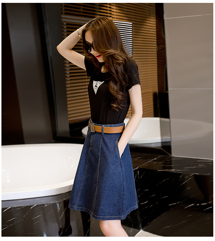 6018 Denim High Waisted Skirts Womens Plus Size A-line Knee Length Elegant Work Wear Jeans Skirt Women 2019 Spring Autumn Skirts 2