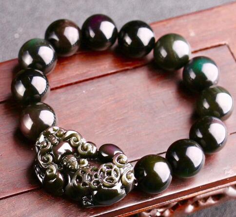 Natural 12 mm Negro Obsidiana Arco Iris Piedras Preciosas Perla Redonda Con cuentas Pulsera elástica