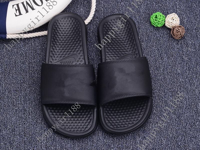 Nike Classique Marque nouvelle été 2019 Hommes Femmes Couple Sandales  Pantoufles Chaussures femme Tongs Slide Designer De Mode diapositives Noir  plage ...