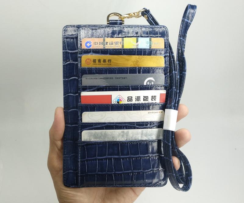 blue genuine leather card holder strap case