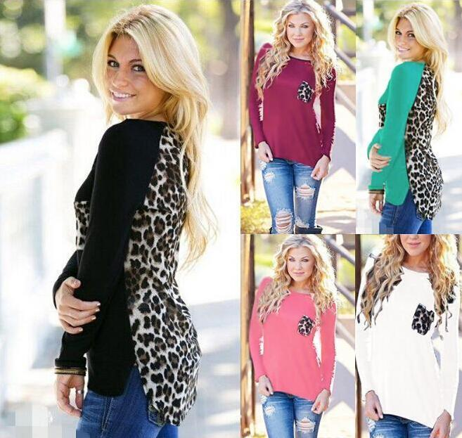 Women Leopard Long Sleeve Top Casual T-Shirt Ladies Loose Sexy Tees Loose Spring Autumn Clothing Wear