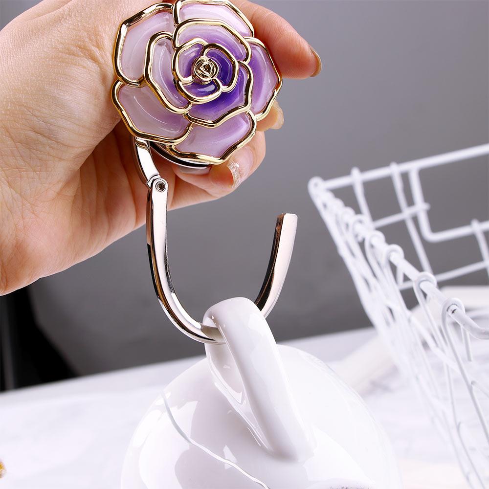 Folding Handbag Purse Hanger Durable  Table  Hook  Hang Holder Flower Shape Hot