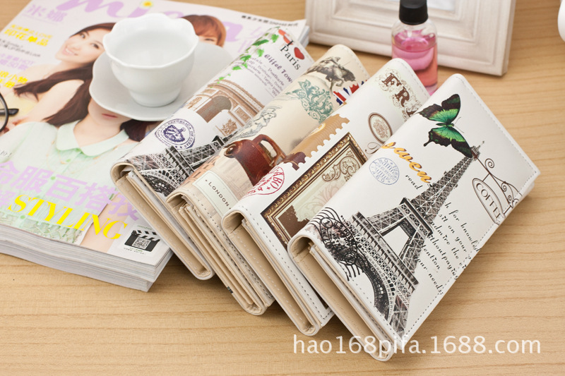 Exotic2019 Tower Iron Screen Printing A Variety Of Pattern Women's 2 Fracture Mobile Phone Package Wallet