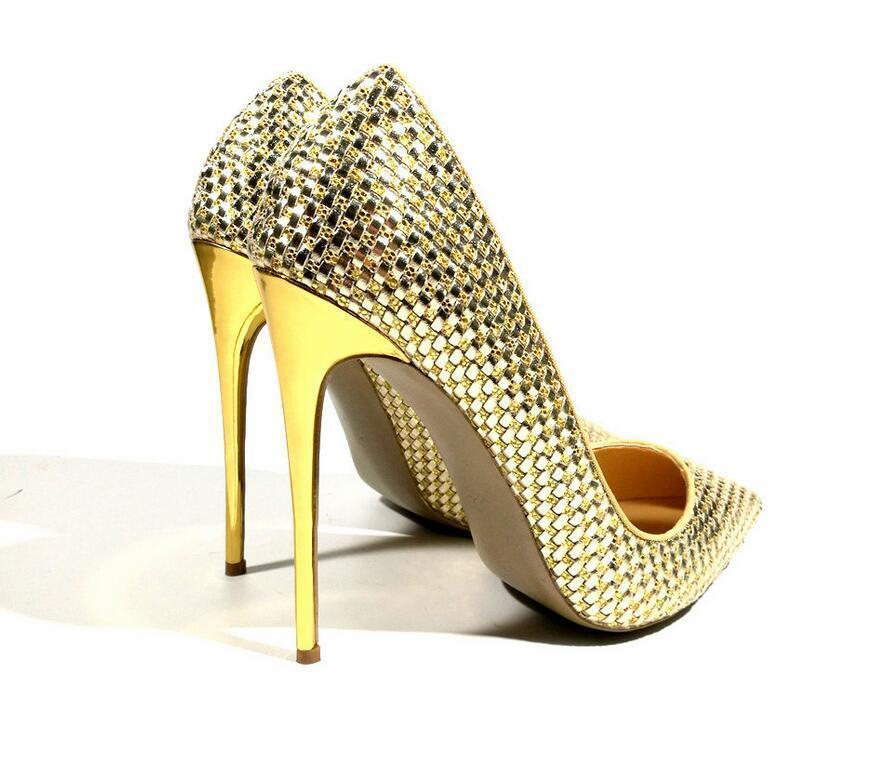 Sexy2019 Pop Woman Women Gold Leather Poined Toes Wedding Heels Shoes Sandals