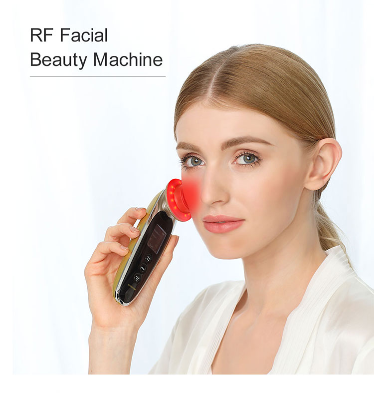Korean Skin Care Beauty Instrument Portable Mini RF Facial Massage Tools RF EMS Led Light Therapy Facial Device