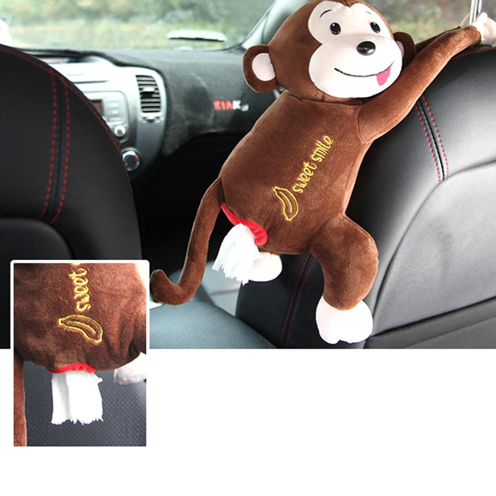 Monkey Toy Paper Facial Pendant Tissue Box,Cover Plush Tissue Box Cover Organizer Holder Tissue Napkin Holder Cartoon Animal Tissue Paper Holder Case for Car Home Bathroom Kitchen Office Brown