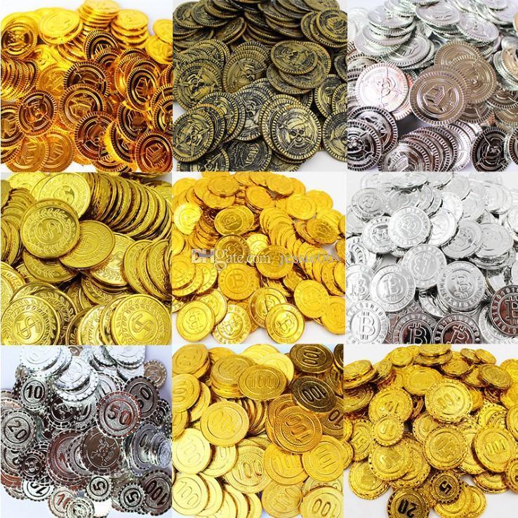 100 Silbermünzen Piraten Schatz Spaß Party Tasche Spielzeug