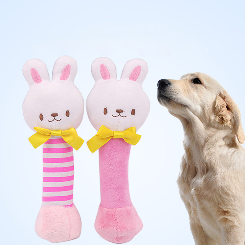 Soft Pet Dog Toy Dog Hand Bell Toy For Dogs Cat Toys Cute Rabbit Interactive Sound Toys Pet Supplies Chihuahua Wholesale