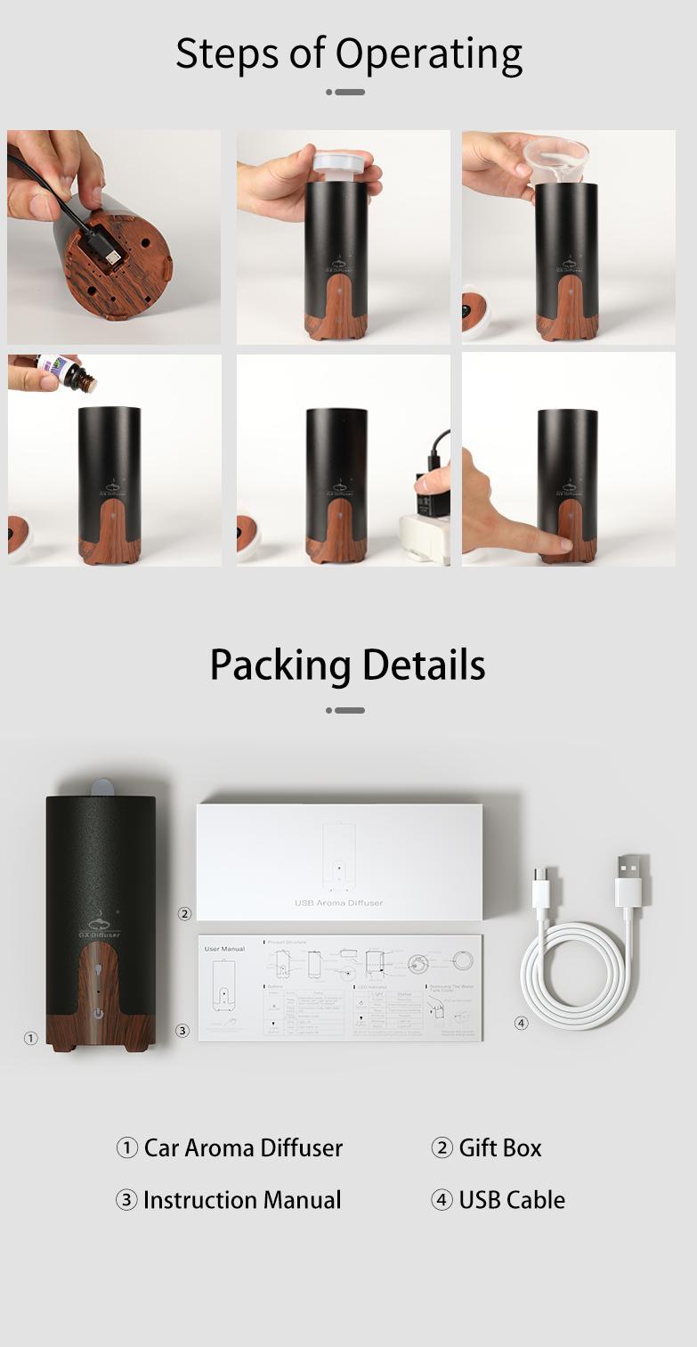 GX.Diffuser Ultrasonic Car Humidifier USB Essential Oil Diffuser Alloy Portable Mini Car Aroma Diffuser Mist Maker with LED Lamp (5)