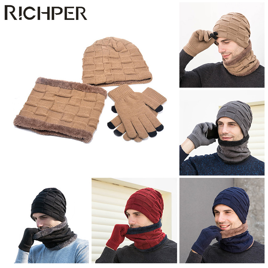 Warm Pieces Winter Hats Scarf Gs for Women Men Thick Cotton Winter Accessories Female Male Beanie Scarf@Wine