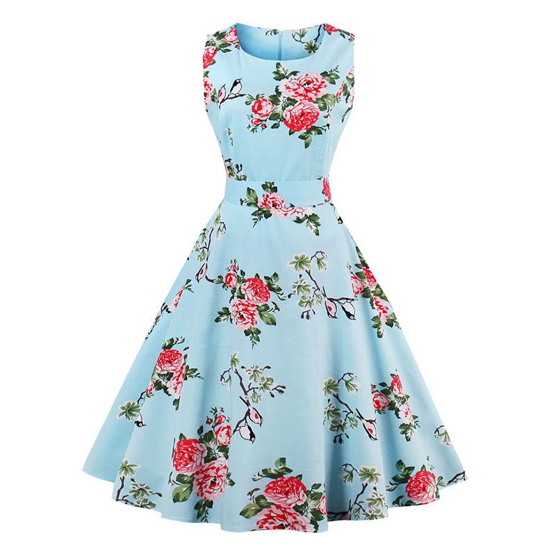 Kostlish 9 Style Print Summer Dress Women 2017 Sleeveless Swing 1950s Hepburn Vintage Tunic Dress Elegant Party Dresses Sundress (15)