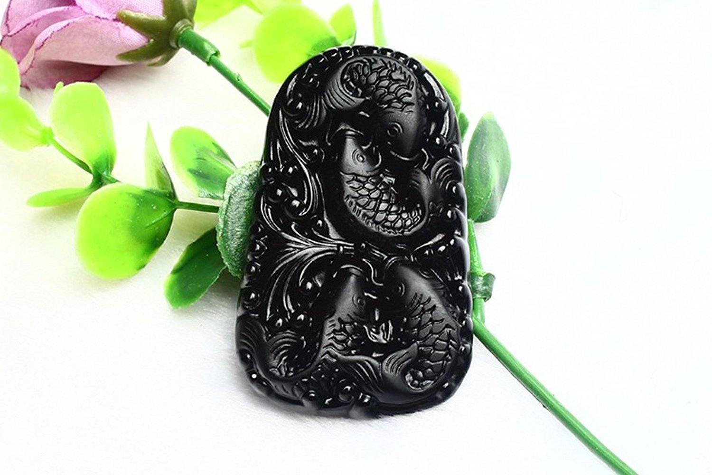 Bijoux fins no-metal-type Obsidienne à la main Quatre poissons Happy Play Pendentif Collier Livraison gratuite