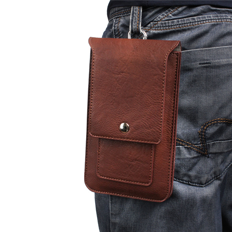 Mobile Phone Bag Leather Pouch Holster Waist Carrying Hanging Bag Belt Pouch Holster Metal Hook Loops Clip Cover Case