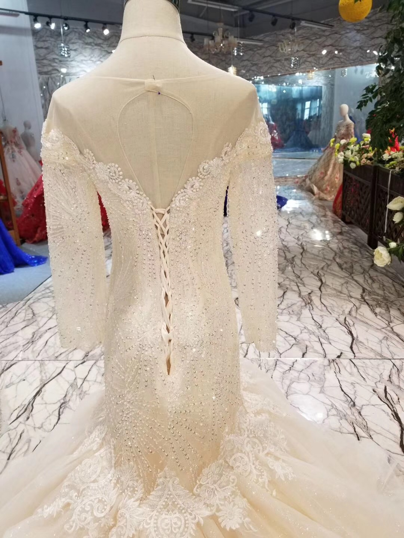 Luxury Expensive Long Sleeves Mermaid Wedding Dress Beading Africa Vestidos De Novia Sexy Off The Shoulder Bride Bridal Gown