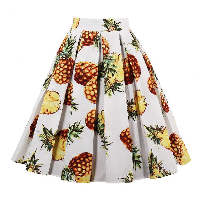 Kostlish Retro Print Flower Summer Skirts Womens High Waist Vintage Skirt Elegant A-Line Midi Women Skirt Plus Size XXL 22 (74)