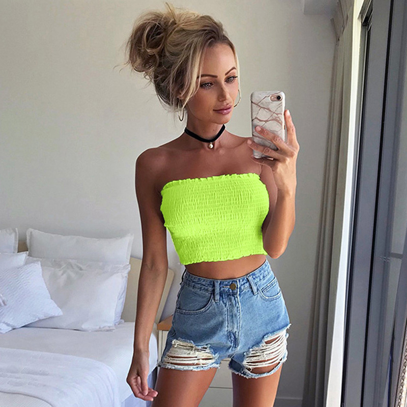 wholesale Sexy Fashion Strapless Crop Top Elastic Neon Color Tube Tops Ruched Summen 2019 Wrap Chest Slim Basic Streetwear Tanks