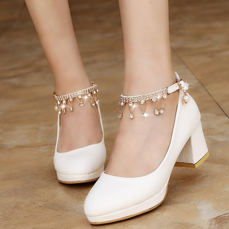 2019 Dress Women Bridal Shoes Super High Heels Pumps String Bead Ankle Strap Platform Pump Dress Shoes Wedding Shoes zapatos mujer 3345