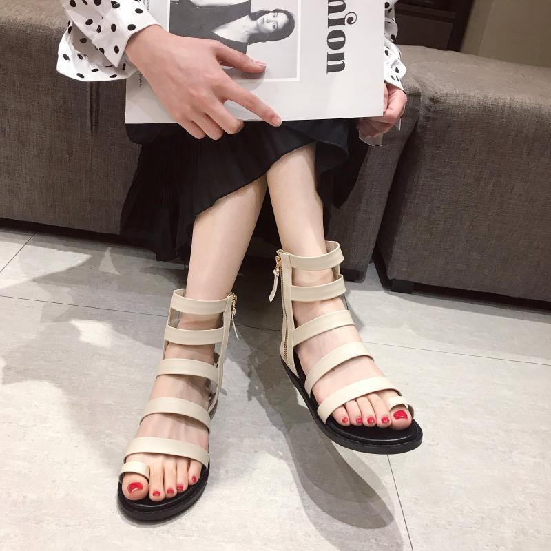 Crystal2019 Flat Buckle Belt Bottom Toe Rome Sandals Woman Fairy The Wind All-match Zipper Short Foot Pinch Hollow Out Cool Boots Ins Tide