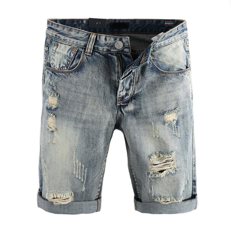 Bermuda UOMO SHORTS STRETCH STRAPPATI JEANS CORTO CAPRI Pantaloni used denim pants