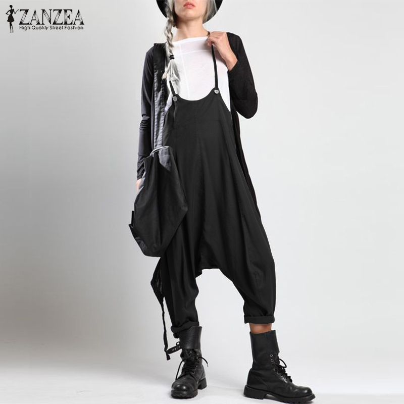 Fashion Strap Overalls Womens Jumpsuits 2019 Zanzea Female Drop-crotch Trousers Femme Summer Playsuits Woman Rompers Plus Size MX190726