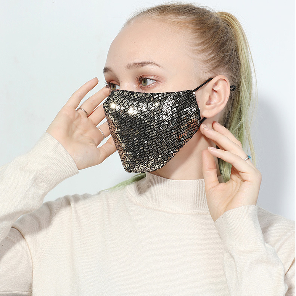 Fashion Bling 3D Washable Reusable Mask PM2.5 Face Care Shield Sun Color Gold Elbow Sequins Shiny Face Cover Mount Masks Sequin mask