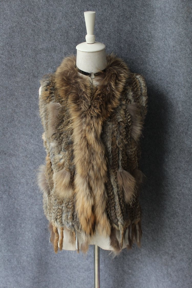 genuine real rabbit fur vest with raccoon fur collar (23)