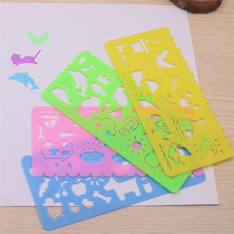 Cute Art Graphics Symbols Drawing Template Stationery Ruler Kids Drafting Stencil Toys Gifts For Children Kids Student