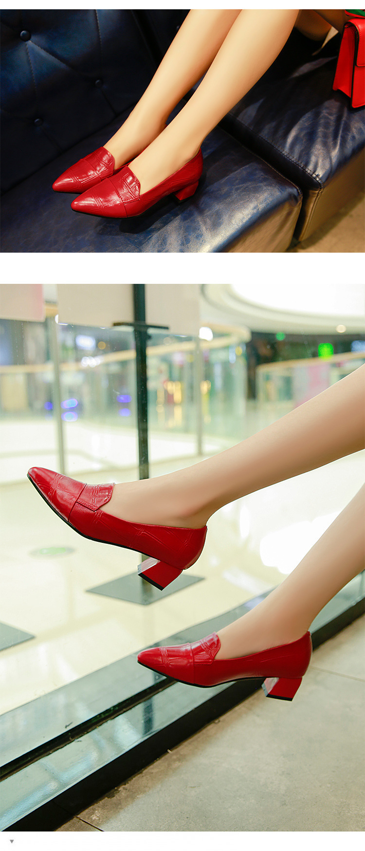 2019 Women 4cm Square Heels Pumps Casual Solid Zip Zapatos Mujer Black Fashion Ladies Leather Chaussures Femme single shoe