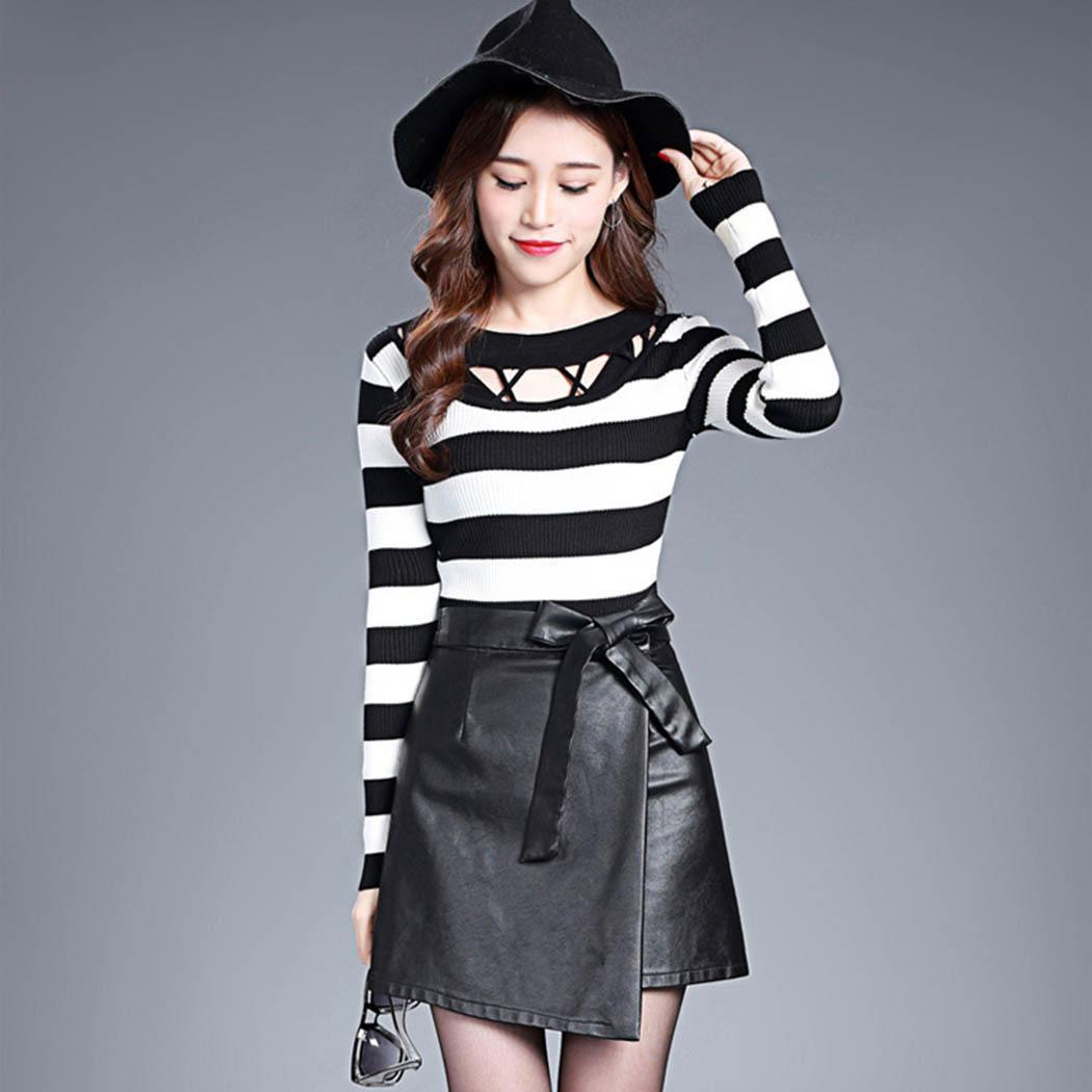 Nouvelle mode nouvelle mode femmes casual taille haute noeud papillon solide jupe une ligne Nouvelle mode mode jupe