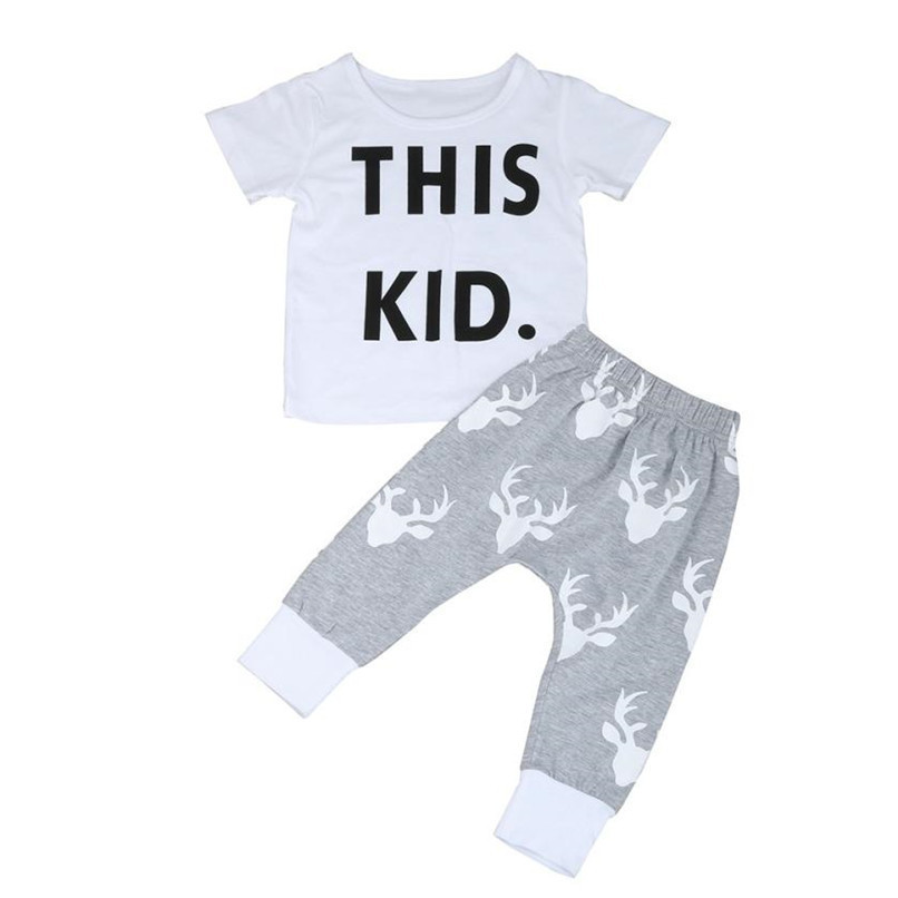2PCS Baby Boy Sets Toddler Kids Baby Boy Short Sleeve Letter Print T-shirt+Deer Print Long Pants Set Baby Boy Clothes M8Y16 (5)