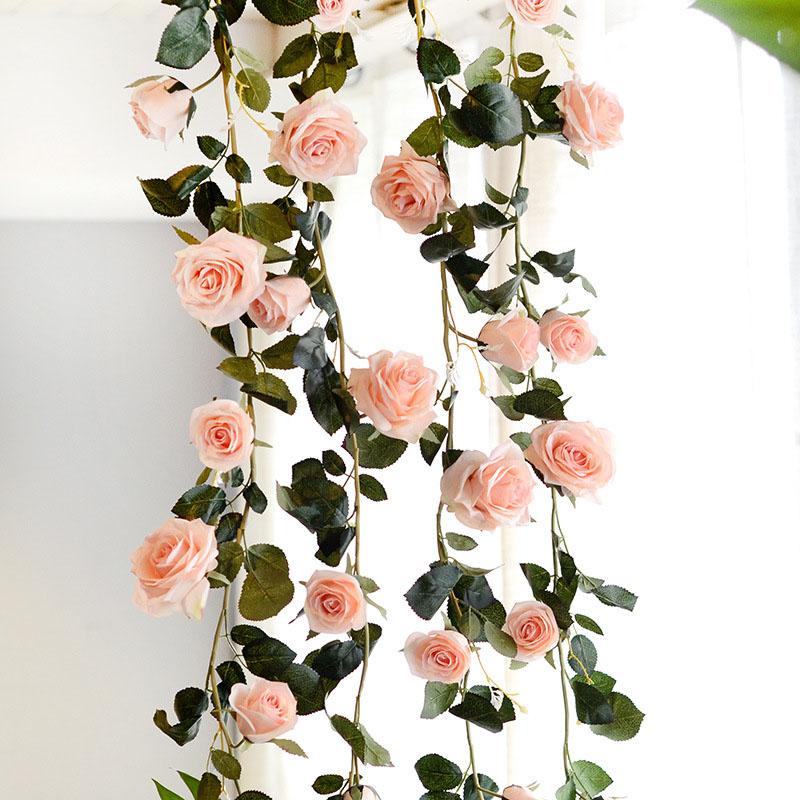 Ghirlanda artificiale decorosa da sposa pomposa appesa a casa rosa bianca rossa seta rosa flessibile Ivy Vine Flower String