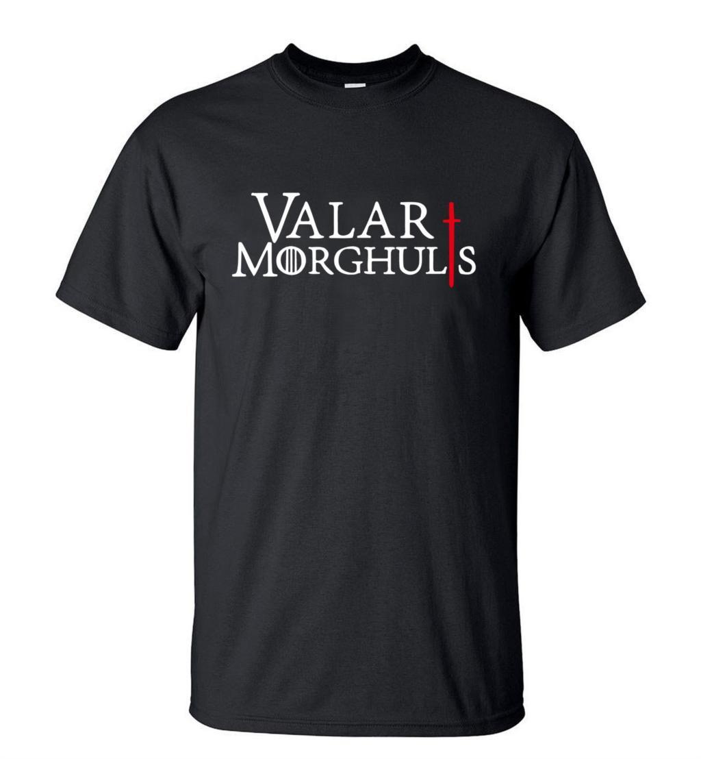 hot sale Game of Thrones ValarMorghulis Printes T-shirt 2019Summer Fashion CasualShortSleeve O-neckMen T shirts 100% Cotton