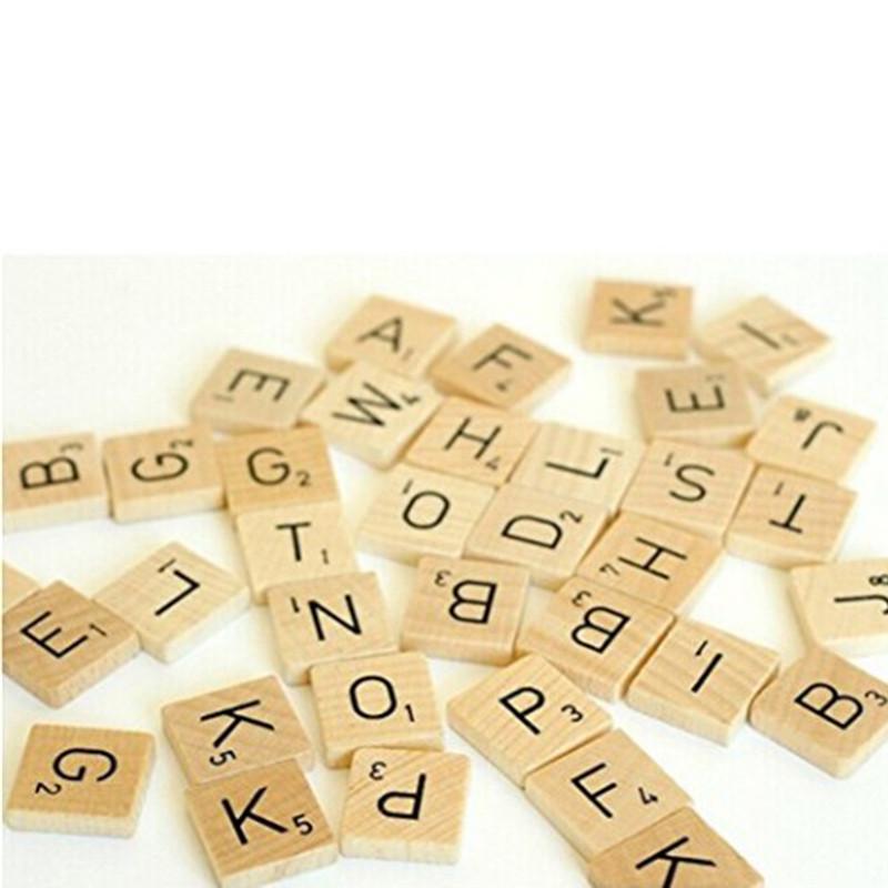 100 de Madera Scrabble Azulejos Negro Letras Azulejos Para Manualidades Madera alfabetos Juguete Mp