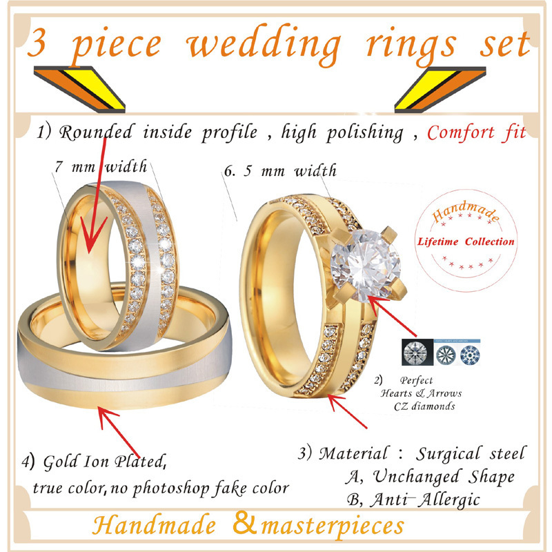Luxury Gold Color 3 pieces wedding rings set for men and women bridal band Jewelry cz couple engagement rings alliance anel (5)