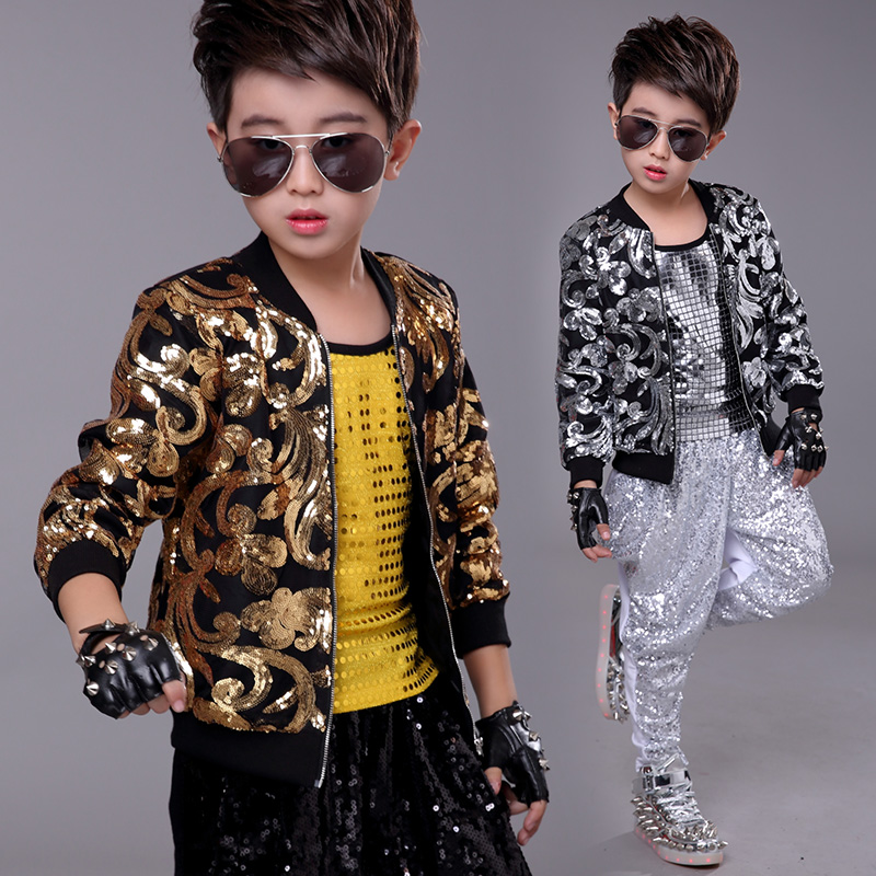 Boys Shiny Sequined Shirt Top Jacket Jazz Dance Show Stage Performance Costume