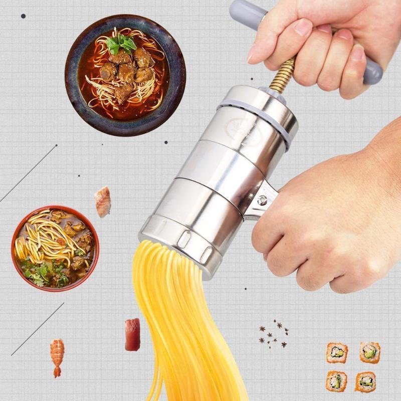Manuel Şehriye Makinesi Basın Makarna Makinesi Krank Kesici Meyve Sıkacağı Tencere 5 Presleme Kalıpları Ile Yapma Spagetti Mutfak
