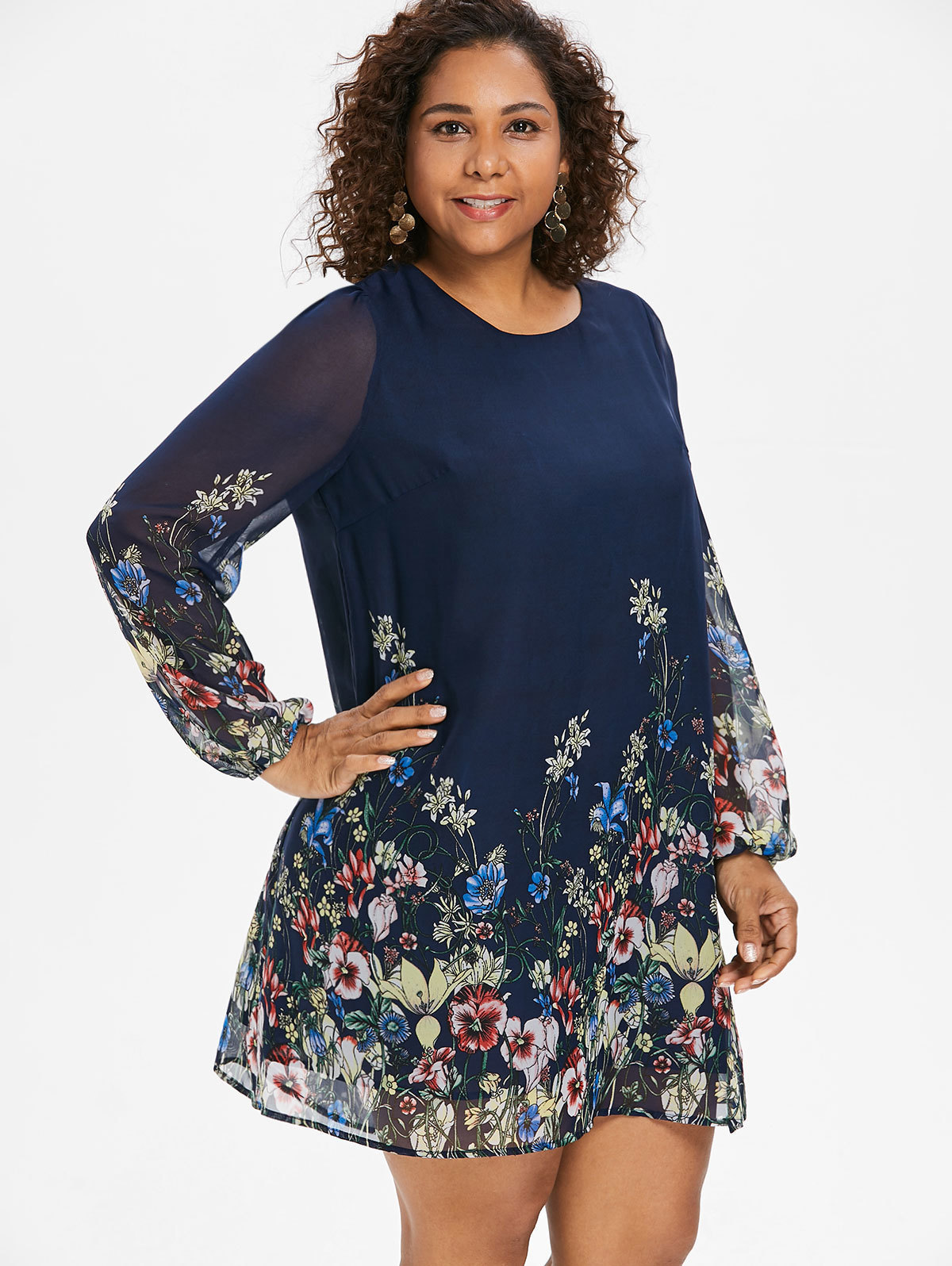 Wipalo Navy Blue Plus Size Floral Embroidery Tunic Dress Spring Summer Elegant Large Sizes Tribal Flower Print Vocation Dress T3190608