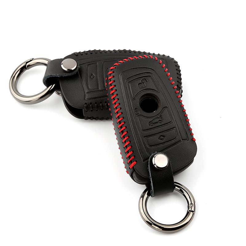 In pelle da uomo e da donna auto portachiavi custodia borsa chiave catena di 2 pulsanti accessori rosso