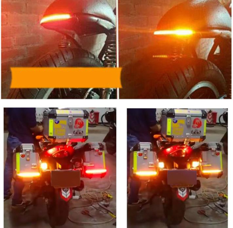 Motorcycle Car DRL LED Sequential Strip Light Flowing Switchback Brake Lights Red Amber Flashing 30cm Knight Rider Turn Signal