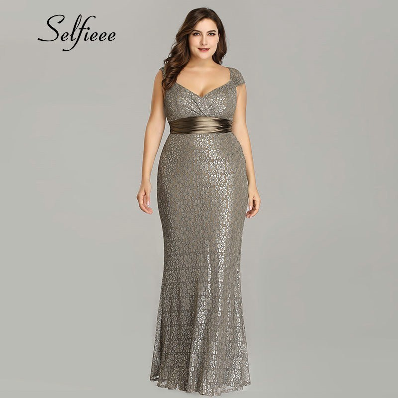 Plus Size Party New Fashion Long Lace Women Dress Femme Elegant V Neck Mermaid Formal Gowns Robe De Soiree Q190524