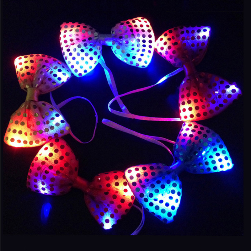 Light Up Neck Tie Sequins LED Flashing Blinking Sparkling Party Wedding Favors